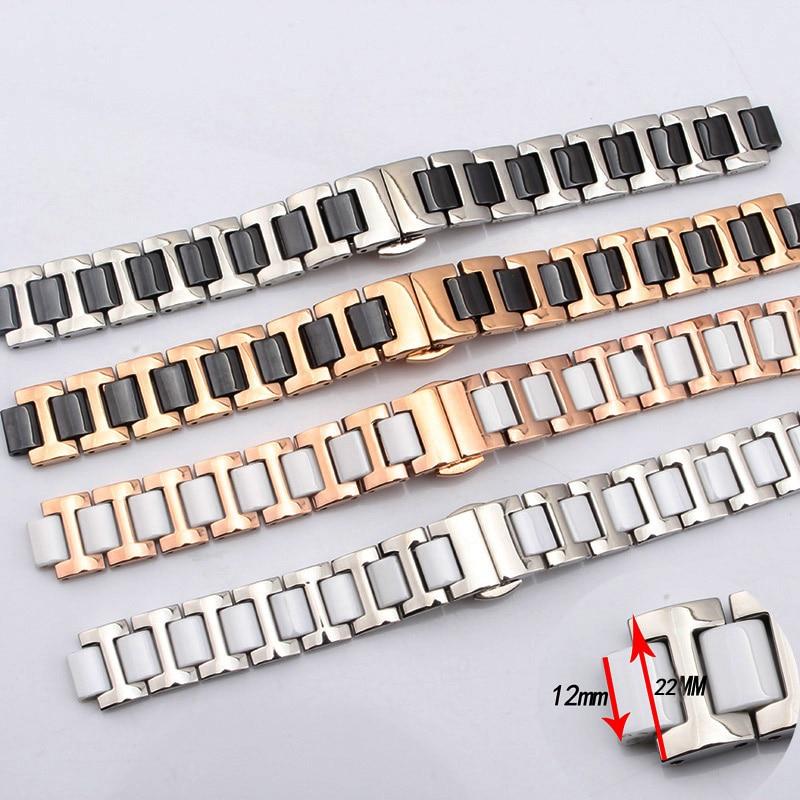 BRETA Ceramic bracelet in stainless steel watchband watch strap8/10/12MM Black White Ceramic Strap Butterfly buckle stylish 8 led blue light digit stainless steel bracelet wrist watch black 1 cr2016