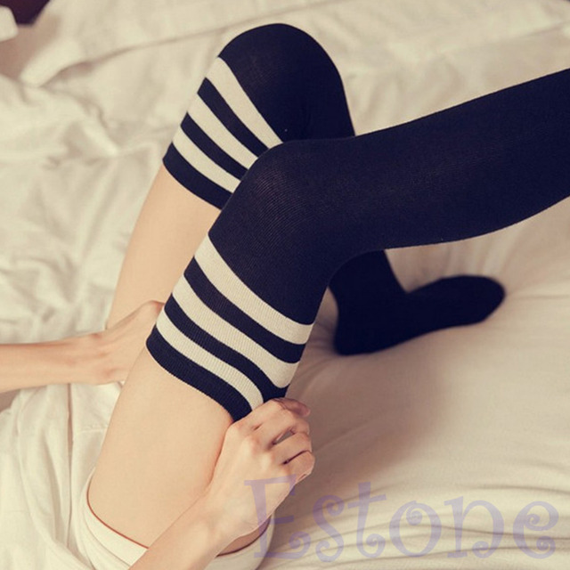 f7cdaf7f6c7 Women Sexy Fashion Stripe Cotton Over Knee Socks Thigh High Stockings Long  Socks