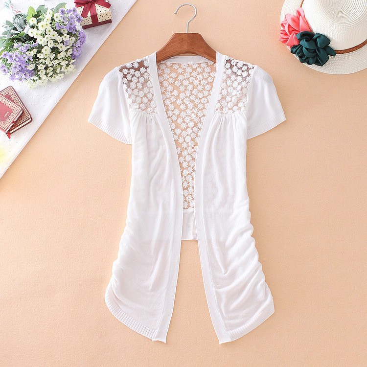 Alimoo Candy Color Autumn Short Sleeve Crochet Knit Blouse Lace ...