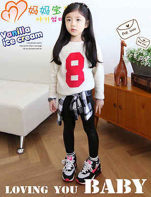 2017 Sıcak Bebek Kız Çocuklar Pantolon Sıkı Sahte PU Deri Sıska Siyah Pantolon Tayt Pantolon