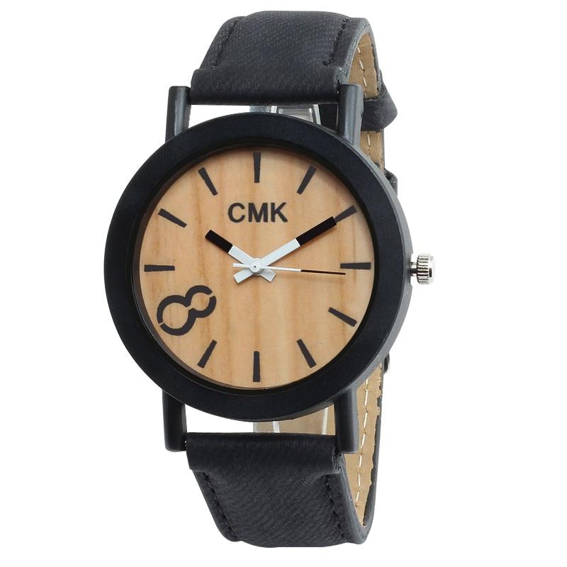 Fashion Luxury Imitation Wood Grain Watch Men Women Simple 4