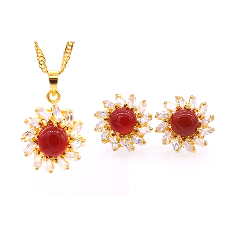 GZJY Fashion Party Jewelry Set Yellow Gold Color Onyx Zirconia Pendant Necklace Earrings Set For Women Girls Gift