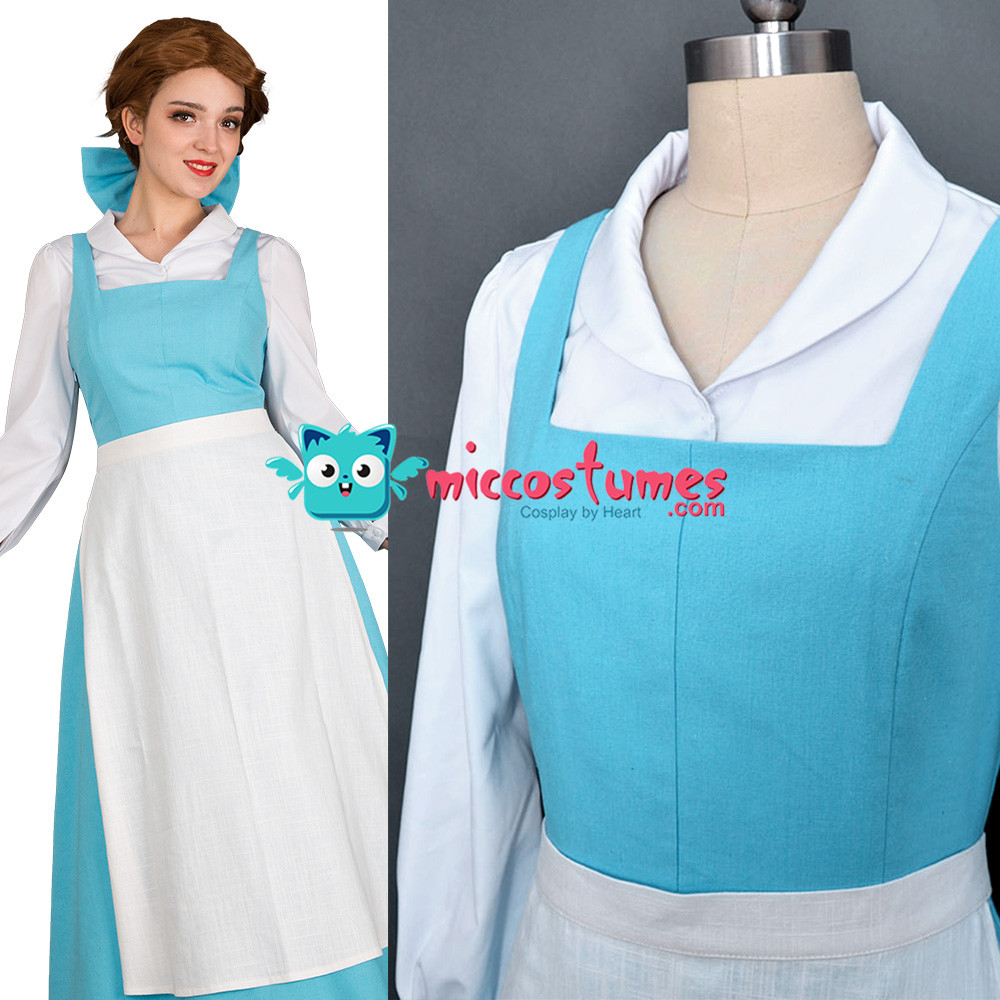 Anime Film Belle Cosplay Costume Blue Maid Dress Shirt Apron