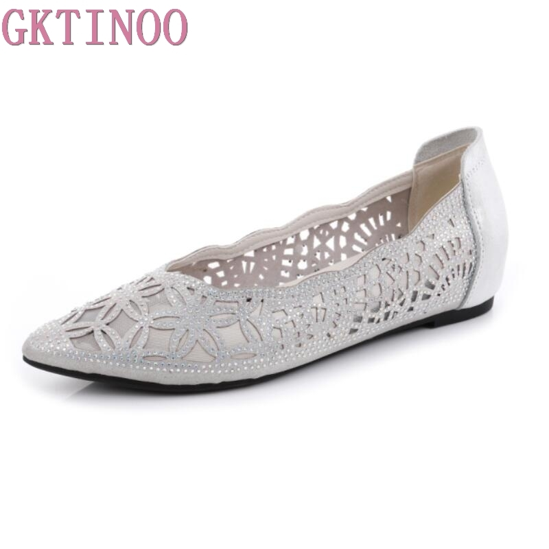 GKTINOO Women Flats Shoes Pointed Toe Genuine Leather Crystal Shoes Summer Shallow Ballet Flats Shoes Ladies Large Size 34-43 2018 women shoes comfort pointed toe patent leather ballerina ballet flats portable travel flats summer slip on shallow shoes