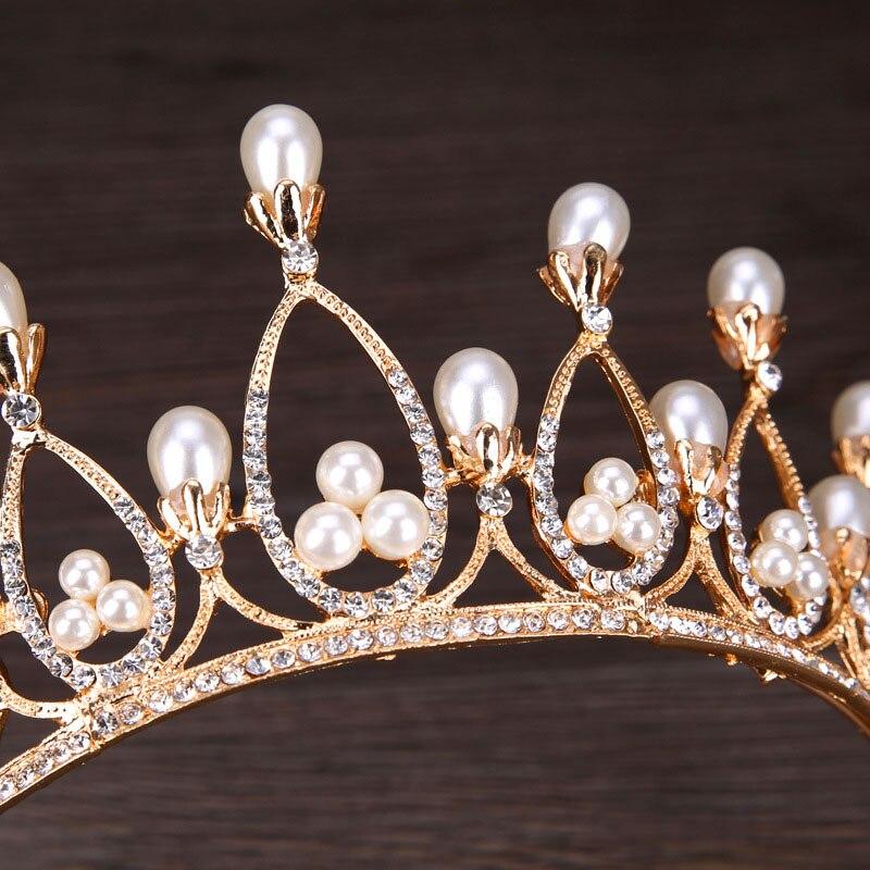 Роскошь барокко Украшенные стразами свадебные диадемы жемчужина корональных головной убор Принцесса Театрализованное Корона украшения д...