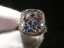 Envío gratis solitario 10Ct Diamonique CZ del oro blanco 14KT llenó simulado anillo de bodas de diamante para mujer talla 5-11