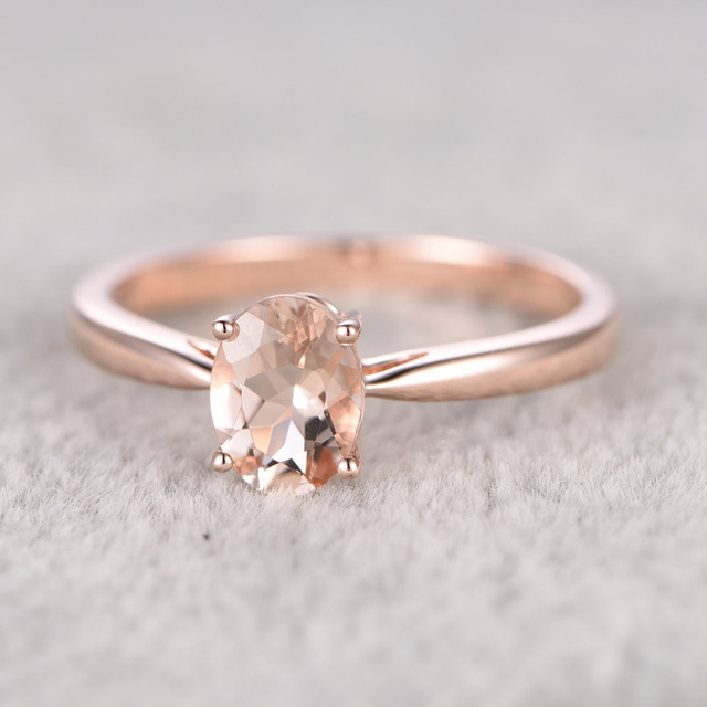 Ring For Women 6x8mm 08CT Oval Cut Morganite Engagement 14k Rose Gold Wedding Set