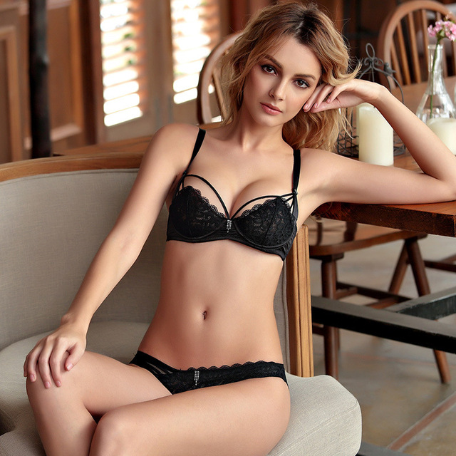 30bbfaf0ff81d Women sexy bra set underwear bra set embroidery sexy lace bra transparent  ultra-thin temptation black and white sheer cup b only