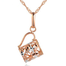Real 18K Gold Necklace Pendant Exquisite Hollow Cup Necklaces Pendants New Fashion Jewelry Women AU750 Fine Birthday Gif