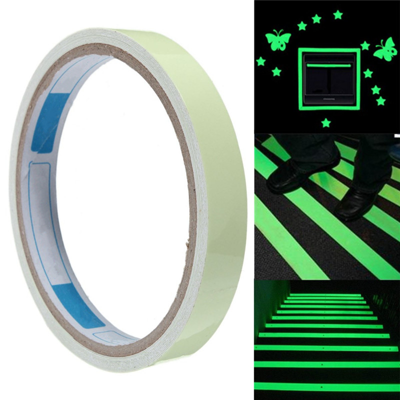 Safurance 5 Pcs Luminous Tape Self-adhesive Glow In The Dark Night Vision Warning Tape Green Indoor Outdoor Security glow in the dark skull pattern protective pvc back case for iphone 5 black pink blue green