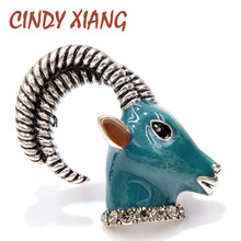 CINDY XIANG Rhinestone Vivid Goat Brooches for Women Enamel Animal Brooch Pin Coat Sweater Accessories Winter Style New 2018