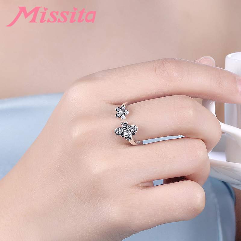 MISSITA 100 925 Sterling Silver Bee Flower Rings For Women Silver Jewelry Brand Romantic Wedding Finger Ring anillos mujer in Rings from Jewelry Accessories