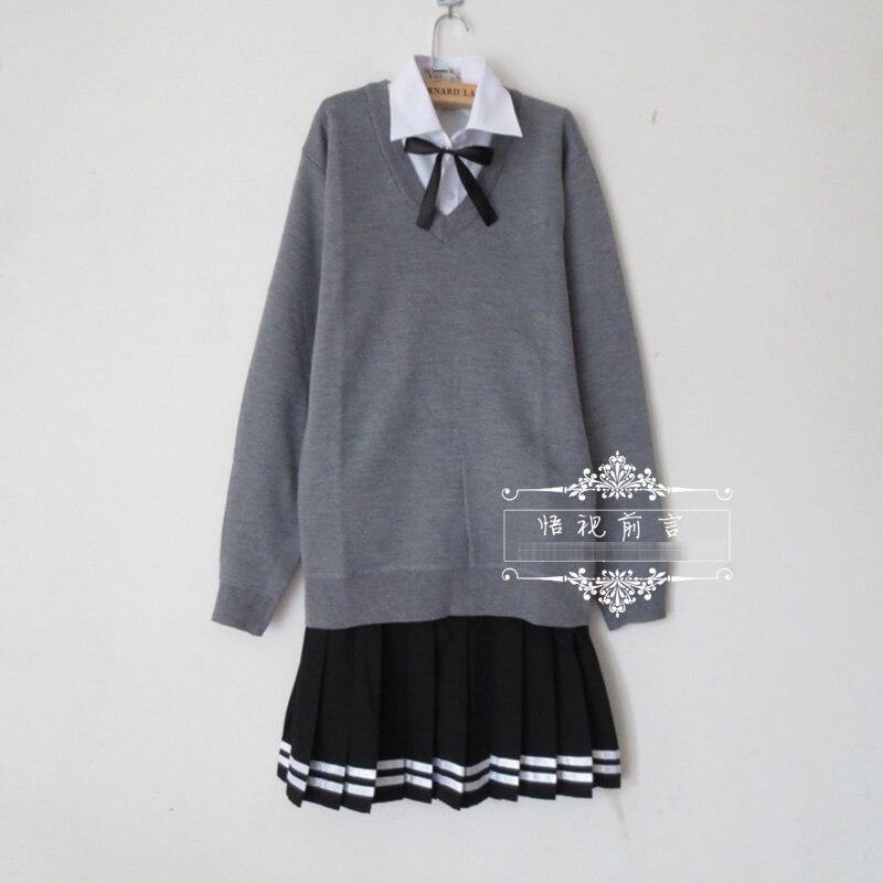 Ensemble de costume uniforme scolaire japonais pull gris + chemise à manches longues blanche unie + jupe plissée noire avec bord blanc