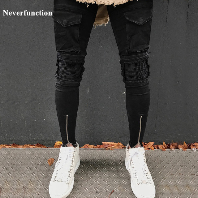 e6cba064c96 Neverfunction Men HIP HOP motorcycle slim fit denim pants Ankle zipper  designer mens black skinny hombre ripped Biker jeans men