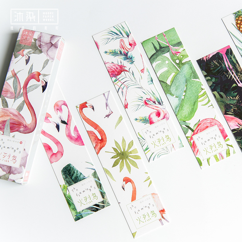30Pcs/Set Creative Flamingo Paper Bookmark Stationery Bookmarks Book Holder Message Card Gift Stationery