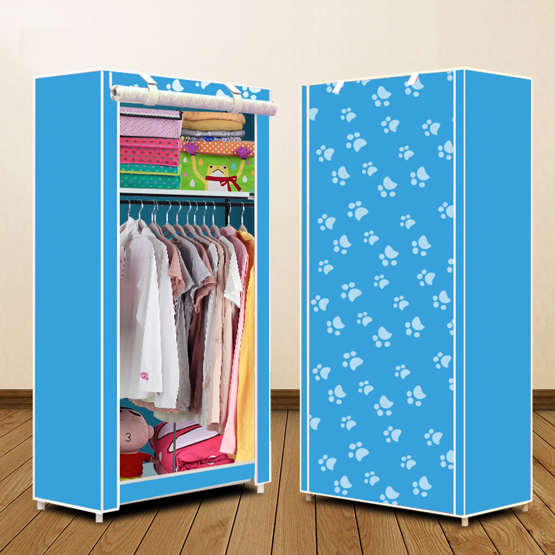 Non-woven wardrobe combination of the overall simple Korean wardrobe single wardrobe dust-proof small wardrobe dust duh non woven wardrobe combination wardrobe double folding wardrobe assembling home furnishing decoration coat hangers locker