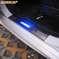 Aosrrun led 스테인레스 스틸 스커프 플레이트 도어 씰 4 개/대 자동차 액세서리 미쓰비시 asx rvr 2011 2012 2013 2014 2015 2018