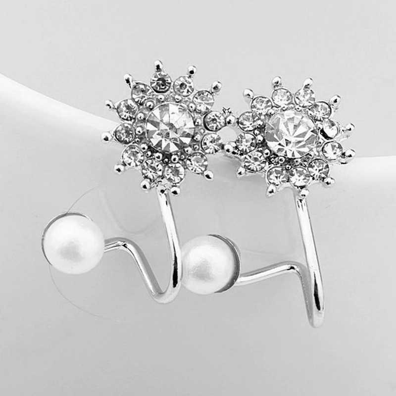 נשים תכשיטים ליידי אלגנטי פרל Snowflake קריסטל ריינסטון שרוול אוזן קליפ Stud עגילים