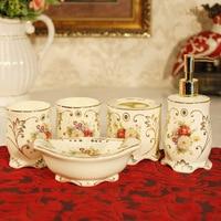 European style ceramic sanitary ware, five sets of luxury luxury bathroom, toiletries, Bridal Gift