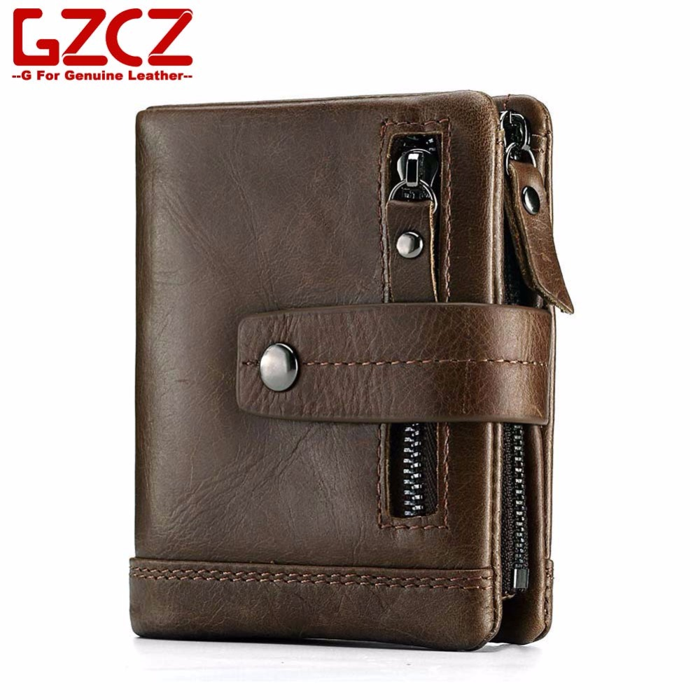 GZCZ Man Wallet Purse Card-Holder Genuine-Leather Credit Masculina Short Buckle Carteira