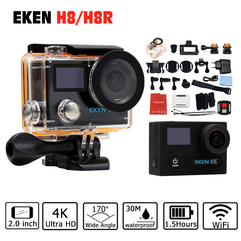 Original EKEN H8 H8R Action camera remote 4K WiFi 1080P/60fps 2.0 LCD Helmet Cam go 30M waterproof pro camera Standard Package eken original ultra hd 4k 25fps wifi action camera 30m waterproof app 1080p underwater go helmet extreme pro sport cam