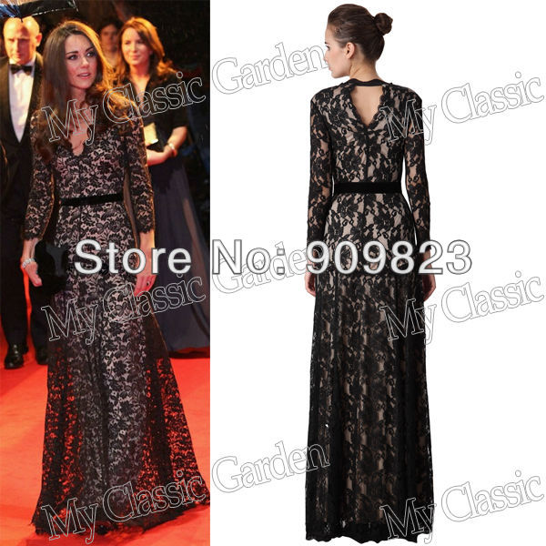 Black Lace Floor Length Celebrity Dresses