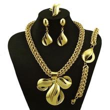 Chapado en oro de la joyería para la boda mujeres moda collar de sistemas de la joyería fina 24 k conjuntos de joyas de oro