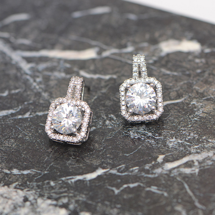 DreamySky Pure Silver Color  Square Zircon Earrings For Women Girls Christmas Gift Brincos Pendientes Drop Shipping