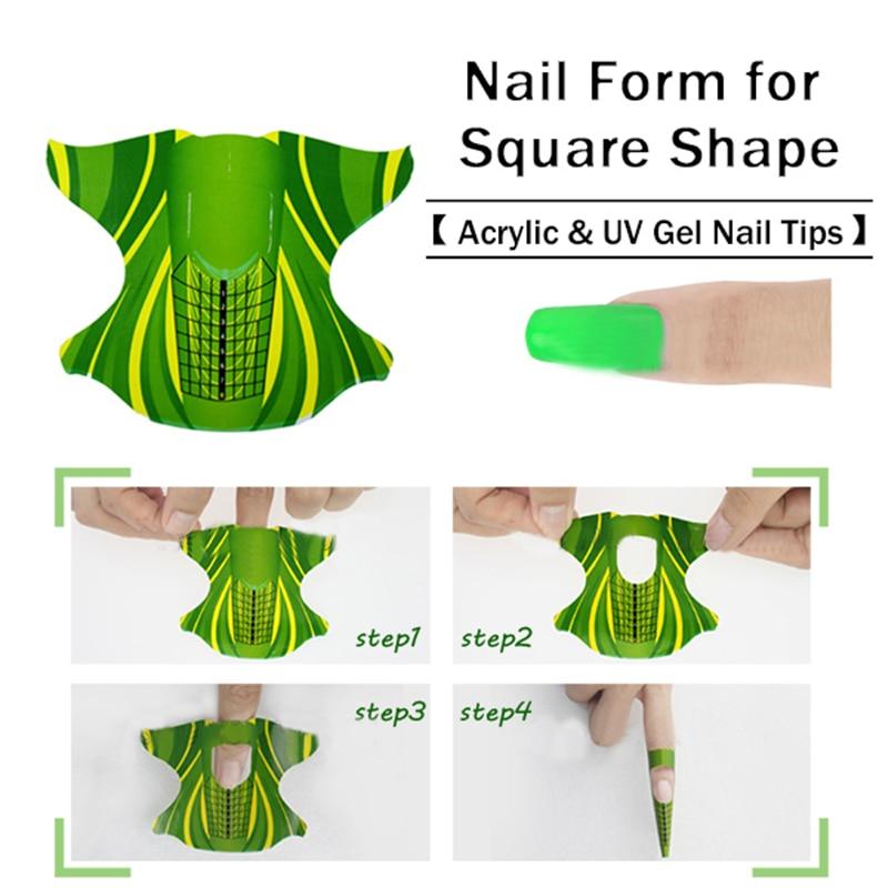 Pcs roll square shape adhesive nail form for acrylic uv