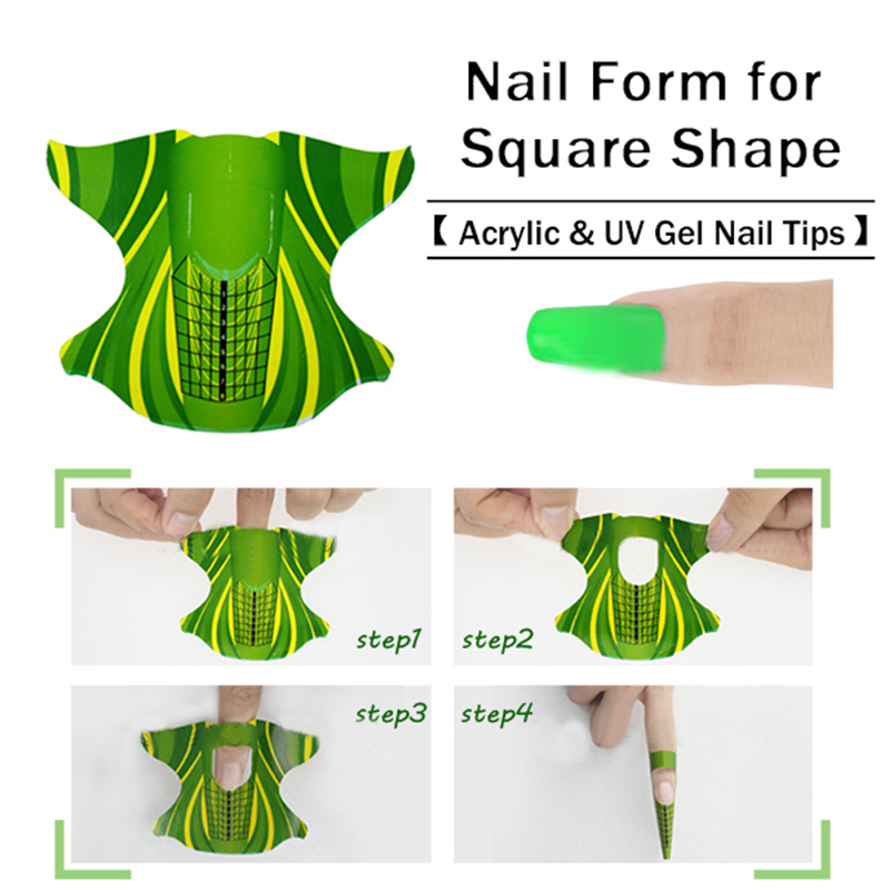 100pcs roll Square Shape Adhesive font b Nail b font font b Form b font for