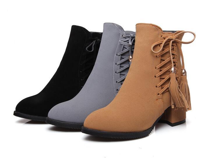 new fashion spring autumn women font b boots b font Tassel Pointed Toe Side Zipper font
