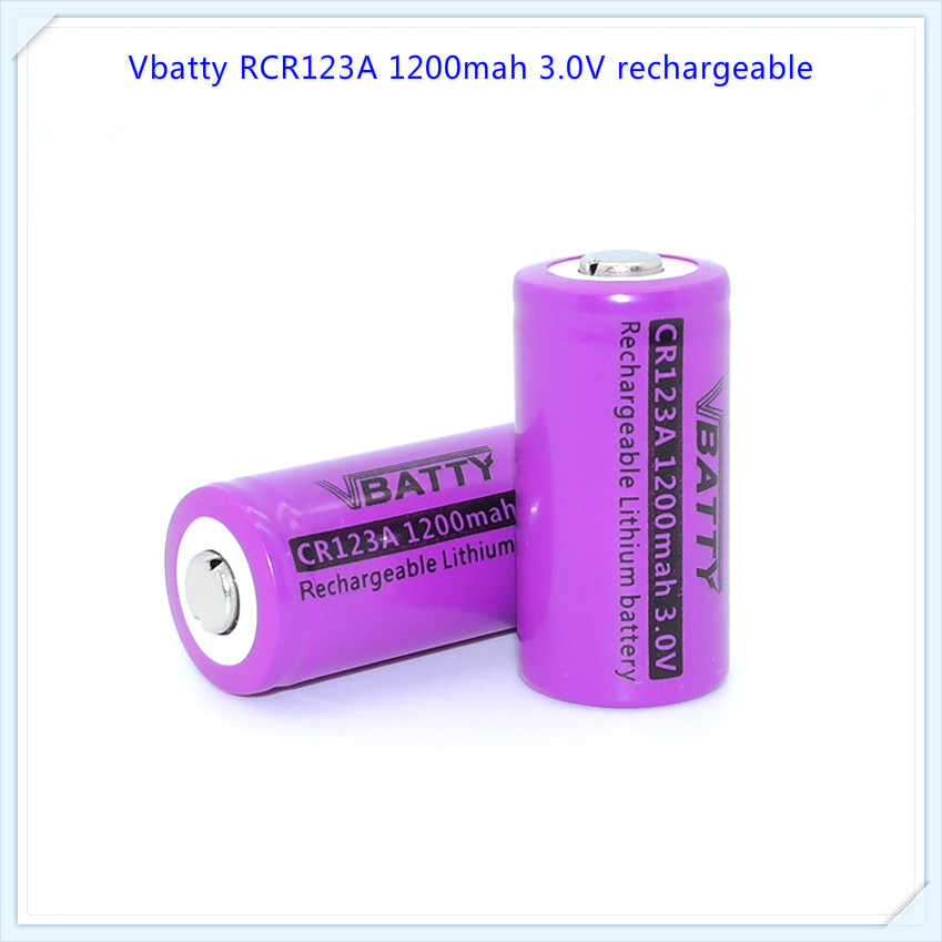 Vbatty CR123A 1200mah 3.0V Rechargeable Lithium manganese dioxide battery CR123A with Button top cr123a batteries(1 pc)