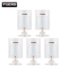 をfuers 5個有線pirセンサーgsm pstnホーム警報システム有線赤外線モーションセンサー赤外線アラーム検出