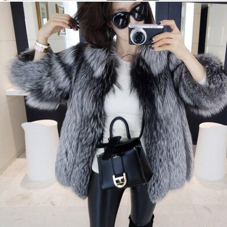 Manteau Nouveau Fourrure De Argent Finlande Mode 2017 Femelle Courte Fourrure Veste Argenté Fox Tout Nouvelle Peau Renard Et YpqTBd