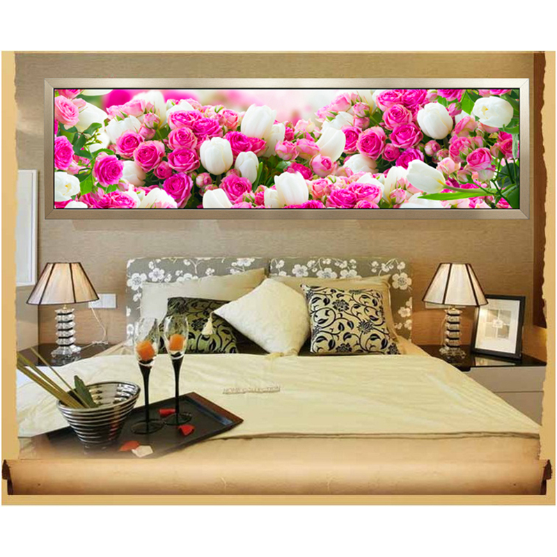 170x50CM 5D Round Diamond Painting Cross Stitch Kit Rose Diamond Embroidery Diy Diamond Mosaic Flowers