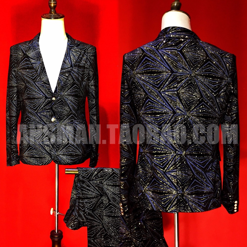 Suits & Blazers Suits Smart Nightclubs Male Singer Suits Dj Europe Catwalk Style Black Red Stripe Aprons Suit Men Fashion Blazers Costumes Wedding Dress