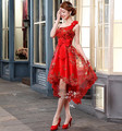 2016 Free shipping Red Party Homecoming Prom Gown Formal short evening dresses vestidos de festa robe de soiree TK214