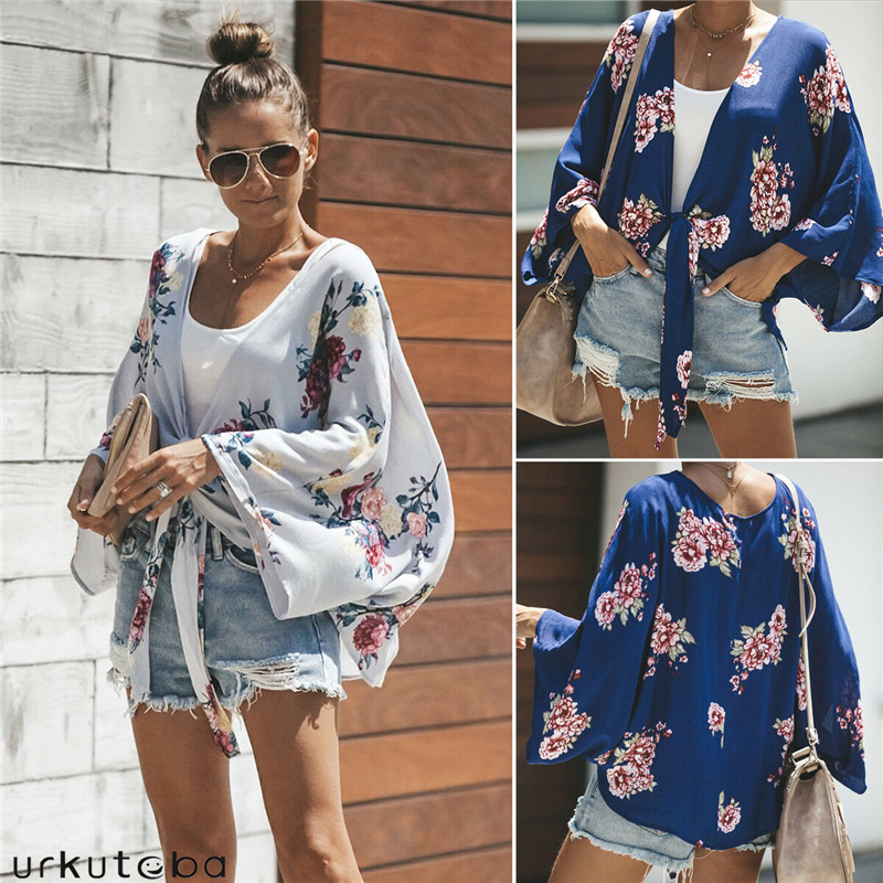 Women Vintage Floral Loose Blouse Summer Fashion Bandage Shirts Women's Clothing