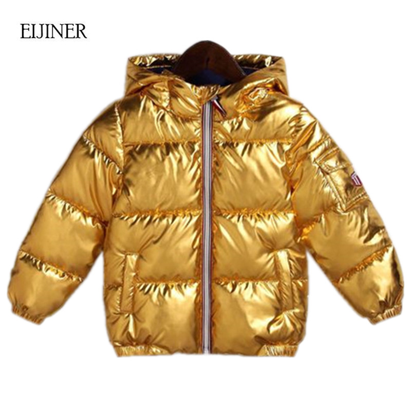 Children Winter Coat 2018 Silver Gold Kids Outerwear Casual Hooded Thicken Warm Boys Coat Fashion Girls Parka Jacket Snowsuit new men s military style casual fashion canvas outdoor camping travel hooded trench coat outerwear mens army parka long jackets