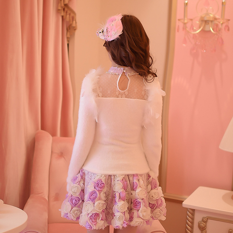 Princess sweet lolita set Candy rain bow decoration embroidery Single breasted Japanese design Bandage Stand collar C16CD6128