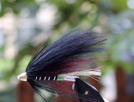 Tigofly 24 Pcs Black Feather Cone Head Tube Flies Salmon Trout Steelhead Fly Fishing Flies Lures