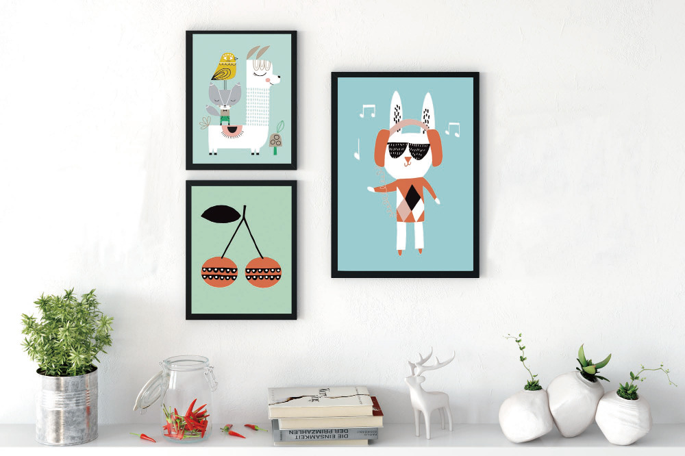 Kawaii Cute Animal Poster Print Modern Nordic Cartoon
