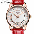 GUANQIN Women's Fashion Casual Quartz Watch Women Gold Case BIG Dial Series Leather Ladies Luxury Jewelry Watches montre femme A