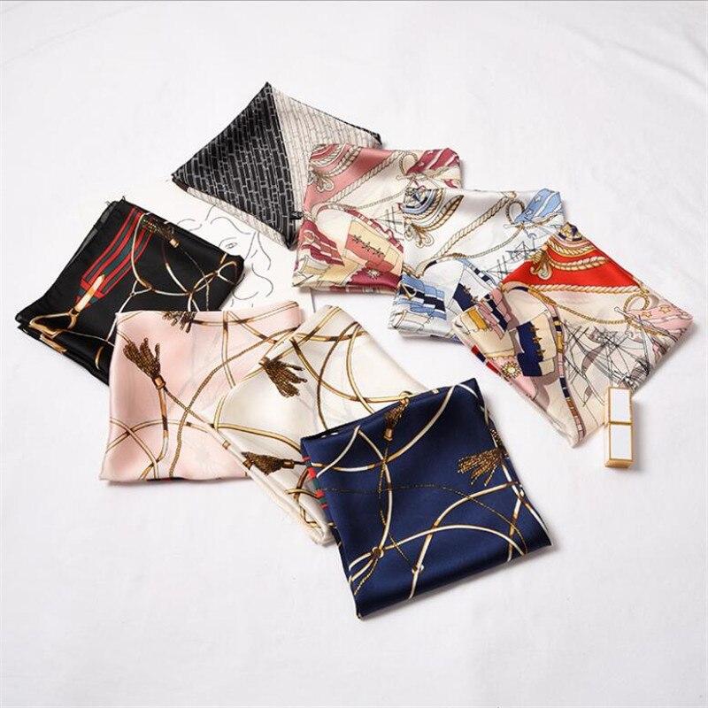 2019 New Women Scarf Silk Wrap Elegant Plaid Striped Dot Patchwork Print Headband Leopard Tie Band Neckerchief Square Scarves