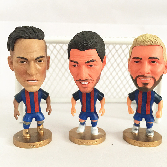 3PCS/LOT Stand Neymar JR Suarez Soccer Doll ( BC 16-17 ) Red Blue