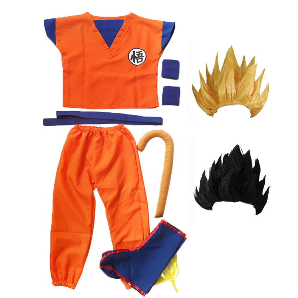 Dragon Ball Z Clothes Suit Son Goku Cosplay Costumes Top/Pant/Belt/Tail/wrister/Wig For Adult Kids 5 SIZE Children's Day Gift
