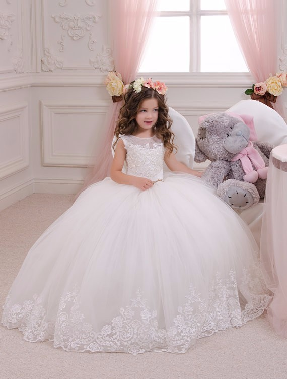Lace New Flower Girls Dresses For Wedding Gown Ball Gown Kids Beauty Pageant Dresses Sleeveless Communion Dresses