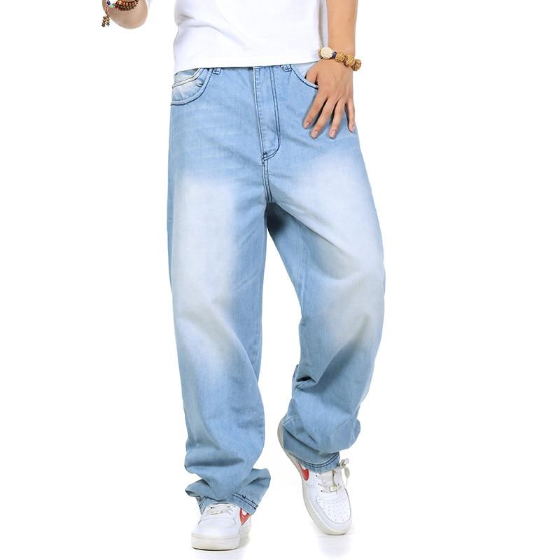 Brand Spring/Autumn Mens Fashion Light Blue  jeans Pants Casual Loose Hip Hop Baggy Jeans Men Boot Cut Jens Plus Size 40 42 44