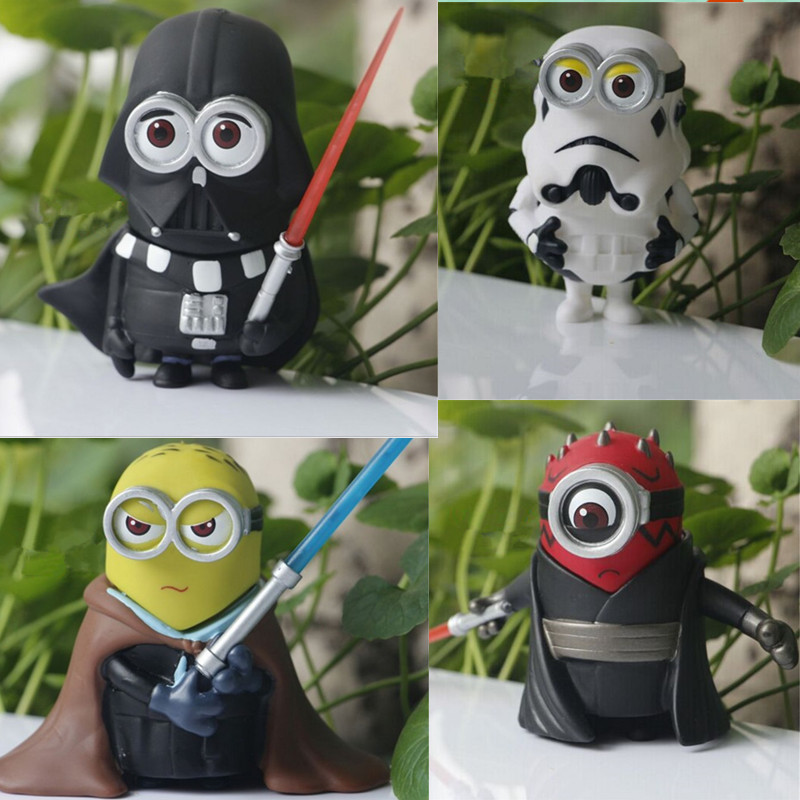 2016 Minion 10cm  4pcs/lot Q Style Star War Minions Cosplay PVC Action Figure Model Toy