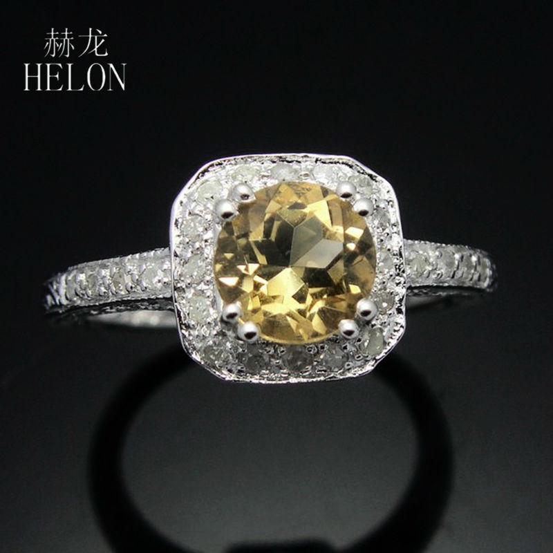 HELON Sterling Silver 925 Gemstone Round 6MM Natural Citrine Real Diamonds Vintage Filigree Antique Engagement Wedding Fine Ring цена в Москве и Питере